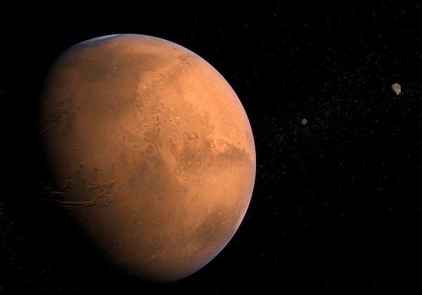 Mars med sina månar Phobos och Deimos